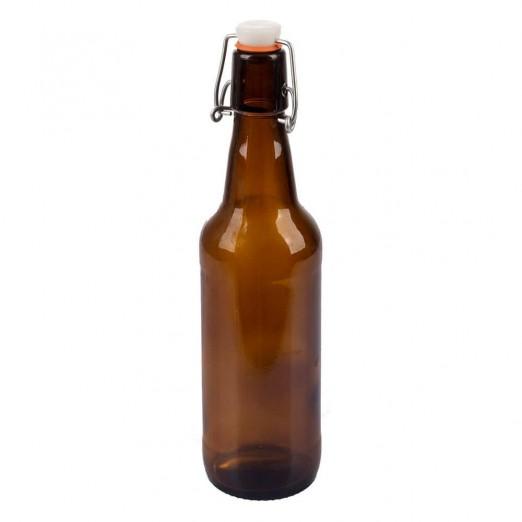 Бутылка бугельная с пробкой, коричневое стекло 0,5 л