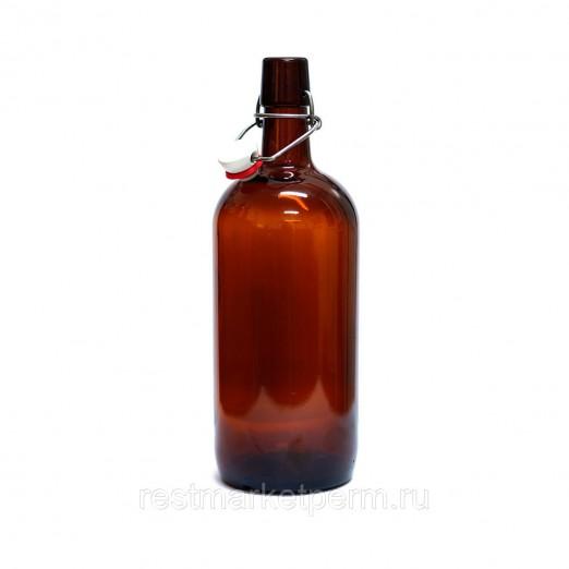Бутылка бугельная с пробкой, коричневое стекло 1 л