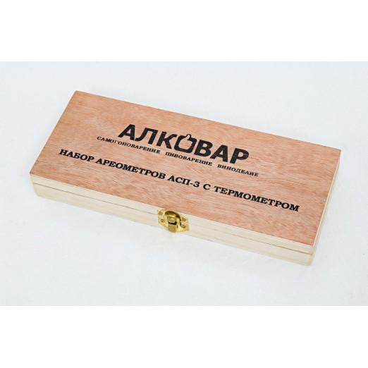 Набор лабораторных спиртомеров АСП-3 в кейсе АЛКОВАР